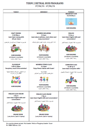 New timetable for Bethal Hub Programs
